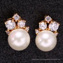 Acessórios de noiva mulheres orelha 18 k ouro brinco de pérola para o presente do dia das mães