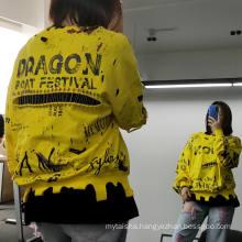 Women 100% cotton colorful plus size printed graffiti letter personality irregular cutout hoodies