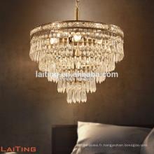 Antique brass copper crystal drop round chandelier 71148