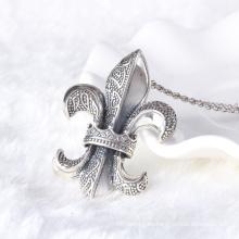 Corazones de la marca de fábrica del estilo del vintage 925 esterlinas pendientes de plata tailandeses joyería de los hombres del collar