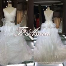 Ruffle flor piso-longitud V-cuello Ver volver 2015 vestidos de novia / Cenicienta venta caliente 2015 Te casar vestidos de novia de la boda