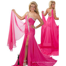 Pink One Shoulder Pageant Dress Party Dress with Sash & Rhinestones RO11-14