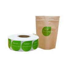 Design personalizado de etiqueta adesiva biodegradável compostável