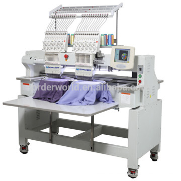 1502C-1202C 2 heads double heads flat cap tubular t shirt computer embroidery machine price