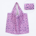 Heavy Duty Expandable Folding Tote Bag Large Reusable 190T Polyester Foldable Grocery Shopping Bag