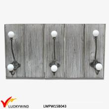 Farm Shabby Gray Wall Wooden Coat Rack Hooks
