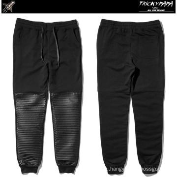 Складные кожаные штаны из искусственной кожи с лоскутной шерстью