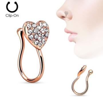 Corazón con piedras preciosas Clip en el clip de la nariz no perforante Falso Septum Piercing