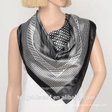 белый и черный полиэстер сатин квадратный шарф с polk DOT дизайн