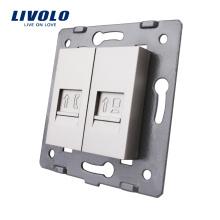 Livolo Серый настенный электрический разъем Аксессуар База компьютерного интернет-разъема RJ45 RJ11 Телефонная розетка VL-C7-1TC-15