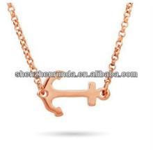 Colgante de acero inoxidable Sideways acero inoxidable Anchor Rose Gold Plating Necklace Fabricación