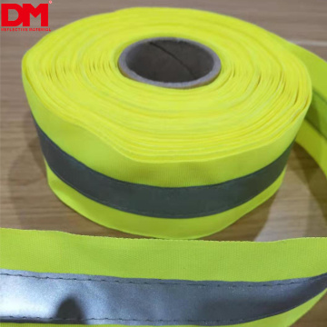 sew on high visibility reflective ribbon webbing tape with reflective heat transfer film