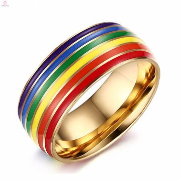 Wholesale women colorful gay stainless steel ring jewellery