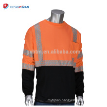 Wholesale ANSI Class 3 Long Sleeve Reflective Safety T-Shirt High Visibility Round Collar Orange Shirts Black Bottom Front