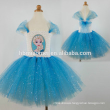 Hot sale children blue flowers chiffon handmade long tutu dress for girls