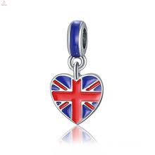 Custom Alloy Jewelry Accessories DIY Bracelet Heart Country Flag Charms