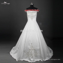 RSW759 Off Shoulder Satin Embroidery Designs For Red And White Wedding Dresses
