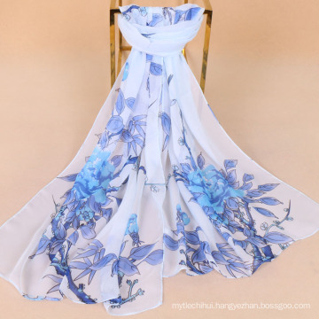 New arrival flowers and birds printing chiffon scarf imitation silk scarf lady sun protection scarf shawl