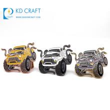 Wholesale no minimum order custom metal brass stamped glitter enamel brand sports car badge