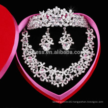 Flower Shape Shine Crystal Jewelry Sets For Wedding Party Wear (Necklace+Earring+Crown) F39836 Necklaces
