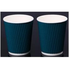 Tasses de papier peint bleu ondulation avec couvercle