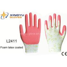 13Г печатания полиэфира пены оболочки латекса покрытием безопасности работы перчатки (L2411)