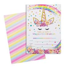 24 Stück Kit Regenbogen Einhorn Happy Birthday Party Einladungskarte, magische Goldglitter Einhorn Danke Karte