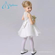 Organza Lace A Line Scoop Bow Robes de fille à fleurs blanches