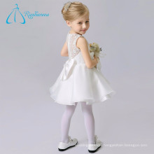 Organza Lace A Line Scoop Bow White Flower Girl Dresses