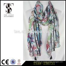 Todo-emparejó el patrón floral colorido pashmina estilo 100% viscosa bufanda