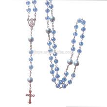 Mode Bling Bling Blue Crystal Gebet katholischen Kreuz Rosenkranz Halskette