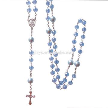 Fashion Bling Bling Blue Crystal Prayer Catholic Cross Rosary Necklace