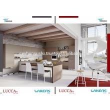 Gabinete de cozinha econômico de venda quente com porta plana de pvc de toque suave e ilha