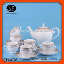 Nouveau set de thé en céramique turquoise set de thé avec décalque