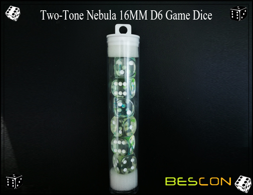 Two-Tone Nebula 16MM D6 Game Dice-12