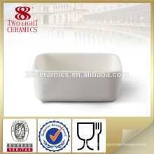 Custom white ceramic sugar square bowl with spoon