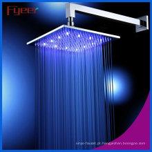 Fyeer 304 cromado de aço inoxidável LED chuveiro