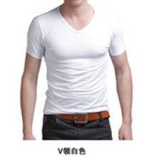 Plain Slim Fit Cotton Mixed Spandex Men T-Shirt