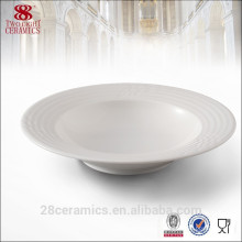 Assiette à soupe en céramique, assiette à soupe en porcelaine blanche, vaisselle pour hôtel et restaurant
