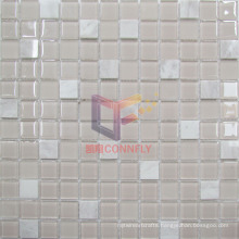 Pink Glass with Marble Mosaic Tile (CS245)
