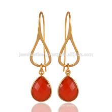 Sterling Silver & Red Chalcedony tear drop Gemstone Drop Earring