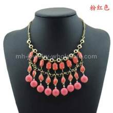 Layers Acrylic Beads Circle Charms Fashion Party Necklace