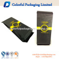 2017 personalizado saco de café com válvula e estanho lado empate embalagens de café saco de fundo quadrado