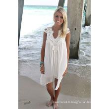 2017 blanc élégant sexy plage couvrir chemisier dentelle maillot de bain femme plage porter