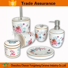 Butterfly with rose design of 7pcs ceramic bathroom accessory set