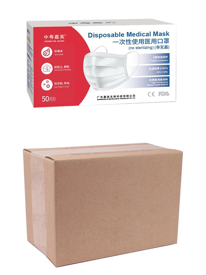 Boxed non-sterile disposable medical masks