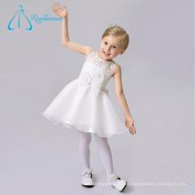 Longitud de la rodilla de organza de encaje blanco corto flor chica vestidos