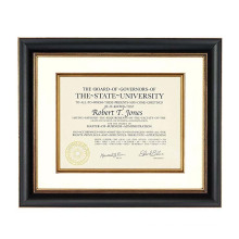 12x15 Tuscan Collection Black and Gold Archival Document Frame with Warm White Mat for 8.5x11 Document