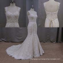 Sheer mangas vestido de noiva sereia renda nupcial vestido de noiva vestido