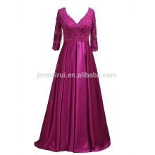 Long Mother of Bride Dresses 2016 High Quality A-line V-neck Half Sleeves Formal Party Gowns for Mother Appliqued Beaded Dresses